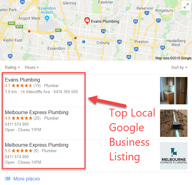 Google Maps Business Listing Example